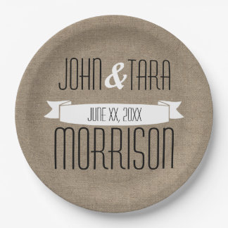 Rustic Country Ribbon Banner Couple's Name Paper Plate