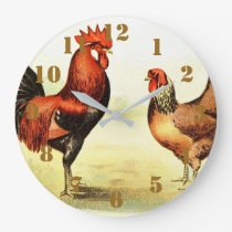 Rustic Country Rooster Elegant Large Clock