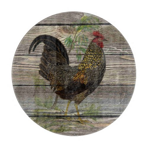 Personallzed Rustic Glass Country Rooster Kitchen Cutting Board