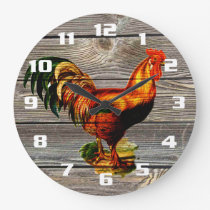 Rustic Country Rooster Kitchen Large Clock