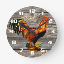 Rustic Country Rooster Kitchen Round Clock