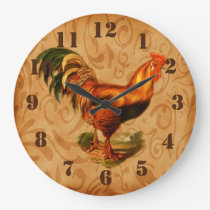 Rustic Country Rooster Ornate Kitchen Large Clock