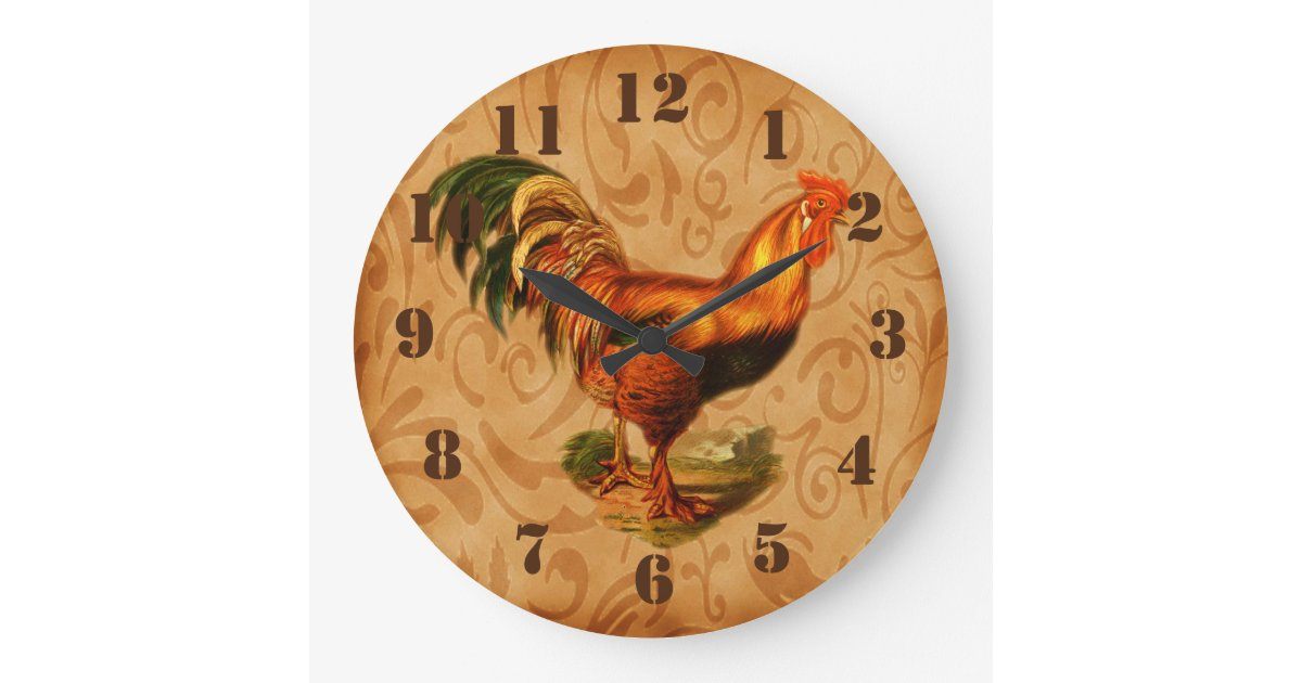 Rustic Country Rooster Ornate Kitchen Large Clock Zazzle Com