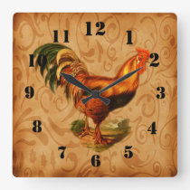 Rustic Country Rooster Ornate Square Wall Clock