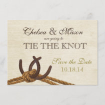 Rustic Country Rope and Horse Shoes Save the Date