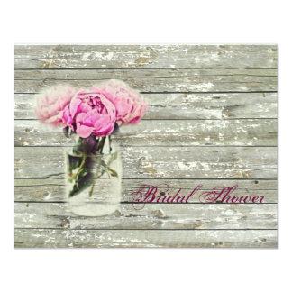 rustic country rose mason jar bridal shower card