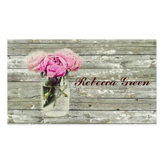 rustic country rose mason jar wedding business card