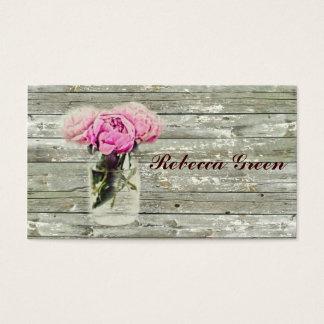 rustic country rose mason jar wedding business card