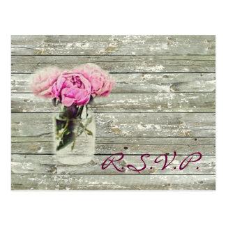 rustic country rose mason jar wedding rsvp postcard