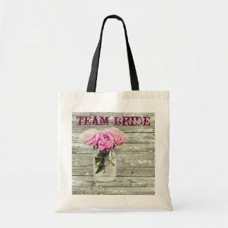 rustic country rose mason jar wedding tote bags