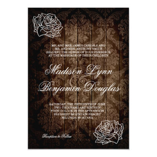 "Rustic Country Roses Barn Wood Wedding Invites 5"" X 7"" Invitation Card"