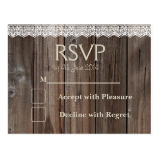 Rustic Country RSVP card wedding lace wood