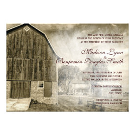 Rustic Country Rural Barn Distressed Invitations