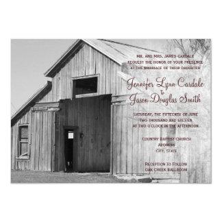Rustic Country Rural Barn Wedding Invitations