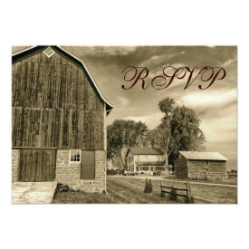 Rustic Country Rural Barn Wedding RSVP Cards