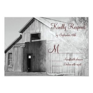 Rustic Country Rural Barn Wedding RSVP Cards Personalized Invite