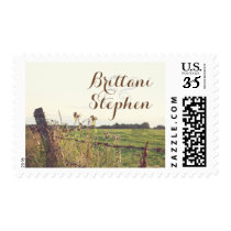 Rustic Country Rural Fence Wedding Postage
