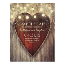 Rustic Country Save the Date & Carved Heart Lights Postcards