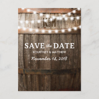 Rustic Country Save the Date | String of Lights Announcement Postcard