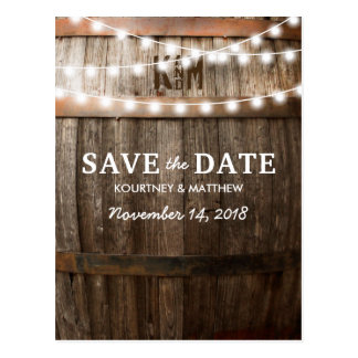Rustic Country Save the Date | String of Lights Postcard