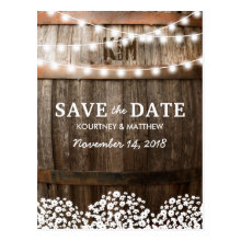 Rustic Country String Lights Save the Date Postcard