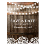 "Rustic Country Save the Date | String of Lights Postcard<br><div class='desc'>Gypsophila rustic string of lights wedding save the date cards featuring a country barn oak barrel background, twinkle string lights, baby&#39;s breath, your monogram and modern wedding wording. Find other wood wedding save the date cards at http://www.zazzle.com/special_stationery* Click on the ""Customize it"" button for further personalization of this template. You...</div>"