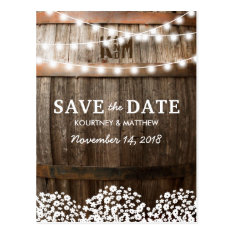 Rustic Country Save The Date | String Of Lights Postcard at Zazzle