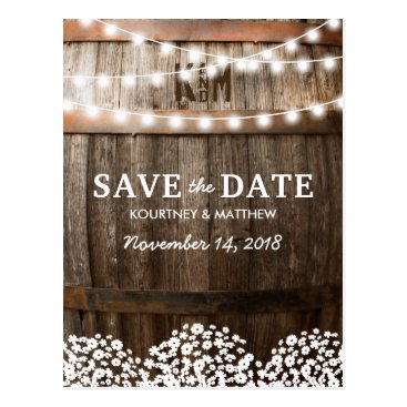 special_stationery RUSTIC COUNTRY SAVE THE DATE | STRING OF LIGHTS POSTCARD
