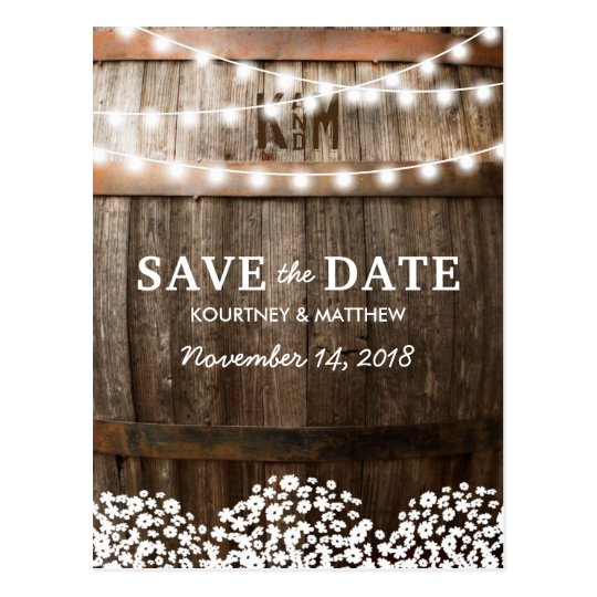 Rustic Country Save The Date String Of Lights Postcard