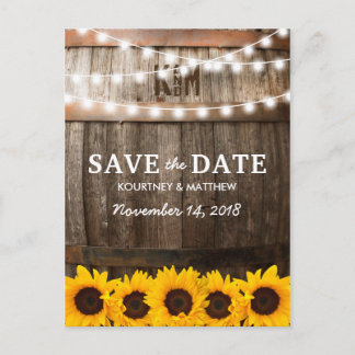 Rustic Country Save the Date | Sunflower Lights Announcement Postcard