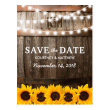 Rustic Country Save the Date | Sunflower Lights Postcards