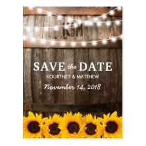 Rustic Country Save the Date | Sunflower Lights Postcard