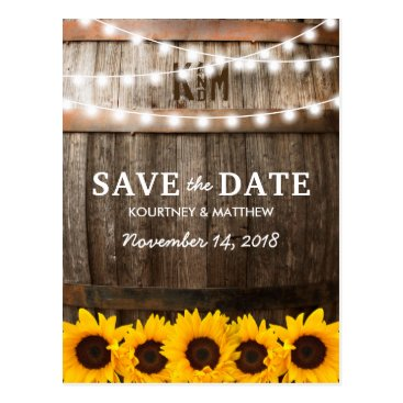 special_stationery Rustic Country Save the Date | Sunflower Lights Postcard