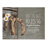Rustic country save the date with old horseshoe postcard