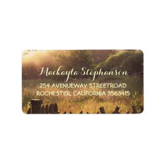 Rustic country scene wedding address label