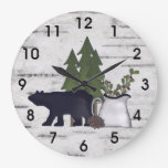 Rustic Country Silhouette Bear and Trees on Birch Large Clock