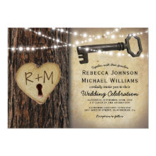 Rustic Country Skeleton Key & Tree heart Wedding Invitations