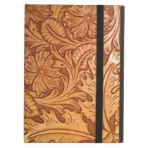 Rustic country southwest style western leather cover for iPad air