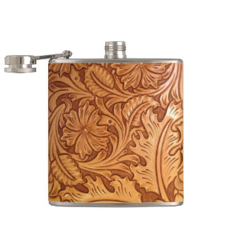 Rustic country southwest style western leather hip flask