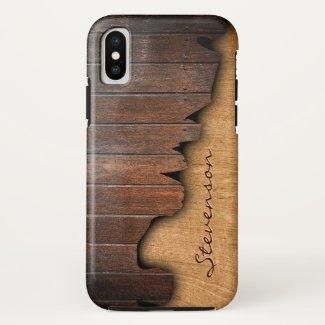 Rustic Country Splintered Wood Look Monogram Name Case-Mate iPhone Case