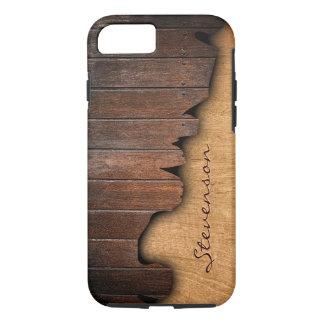 Rustic Country Splintered Wood Look Monogram Name iPhone 7 Case