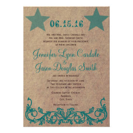 Rustic Country Star Brown Teal Wedding Invitations