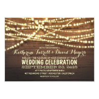 Rustic Country String Lights and Wood Wedding Card