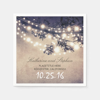 rustic country string lights blue paper napkins