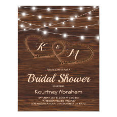 Rustic Country String Lights Bridal Shower Invitation