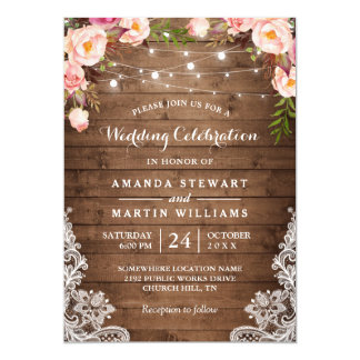 Rustic Country String Lights Floral Lace Wedding Card