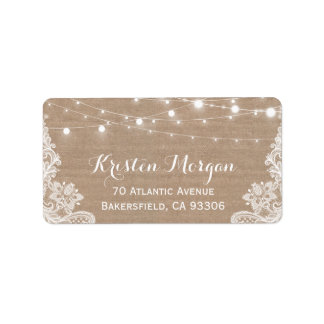 Rustic Country String Lights Lace Burlap Wedding Label