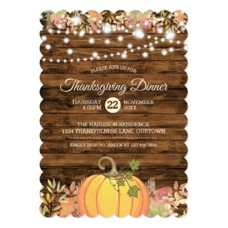 Rustic Country String Lights Pumpkin Thanksgiving Invitation