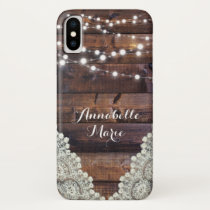 Rustic Country String Lights Sparkly Lace Phone iPhone X Case