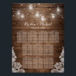 "Rustic Country String Lights Wedding Seating Chart<br><div class=""desc"">================= ABOUT THIS DESIGN ================= Rustic Country String Lights Wedding Seating Chart Poster. (1) Please click the &quot;Customize it&quot; button and use our design tool to enter guests names. (2) All text style, colors, sizes can be modified to fit your needs. (3) If you need any customization or matching items,...</div>"
